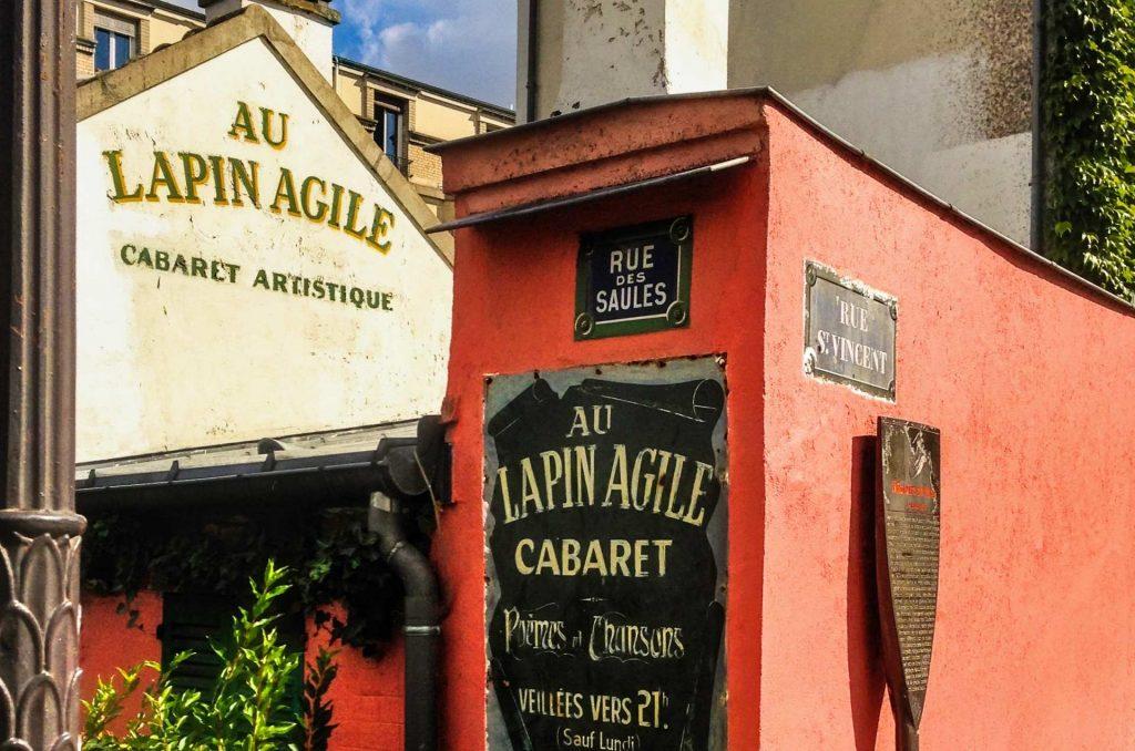 ingresso del cabaret le lapin agile a montmartre, Parigi.