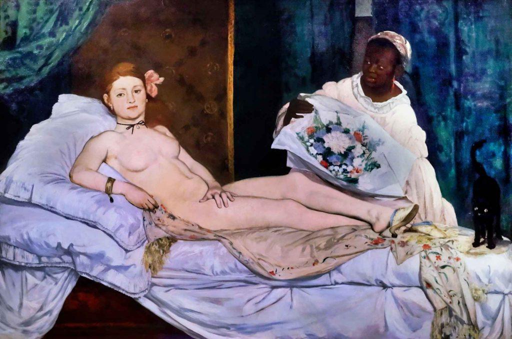 dipinto con donna nuda sdraiata e una donna di colore che le porge i fiori