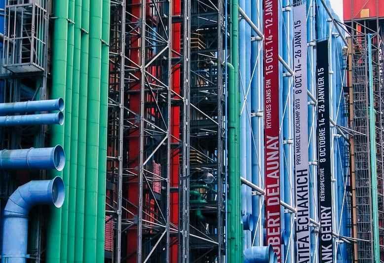 tubi colorati dell'edificio Centre Pompidou