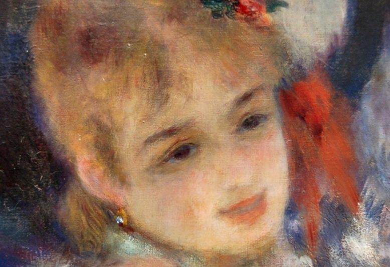 particollare di un volto dipinto da renoir. Museo d'orsay