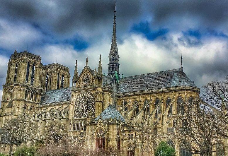 vista della cattedrale di notredame di Parigi